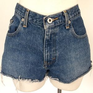 Express size 7/8 blue cut-off denim shorts
